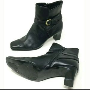 Nine West Shoes - Nine West Black Leather Heeled Ankle Boots Size 8M